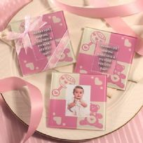 Baby Girl Glass Photo Coaster Set